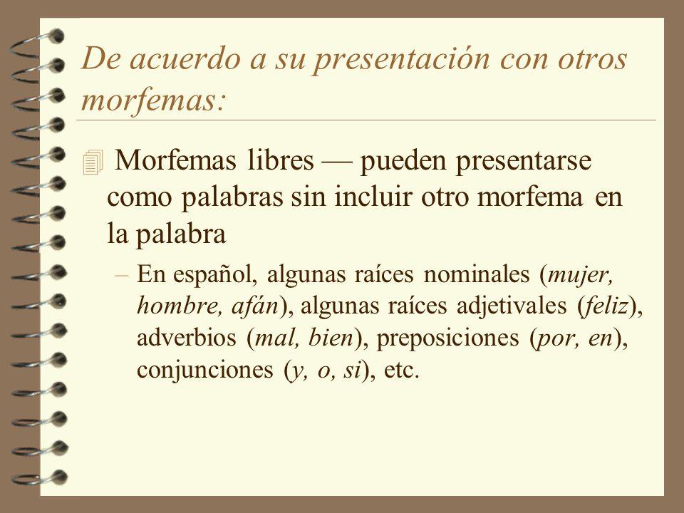 De acuerdo a su presentación con otros morfemas: