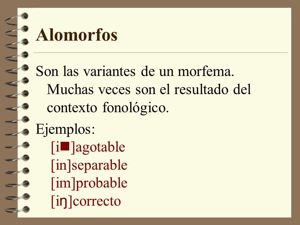 Alomorfos Son las variantes de un morfema. Muchas veces son el resultado del contexto fonológico.