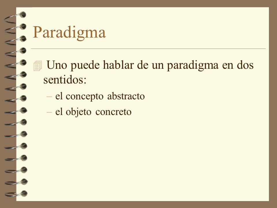 Paradigma Uno puede hablar de un paradigma en dos sentidos: