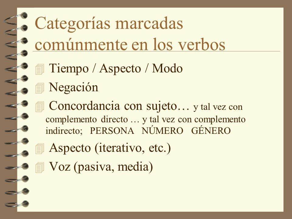 Categorías marcadas comúnmente en los verbos