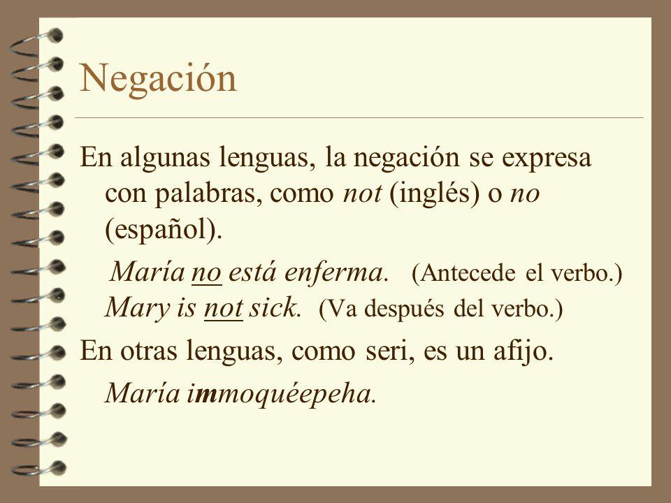Negación En algunas lenguas, la negación se expresa con palabras, como not (inglés) o no (español).