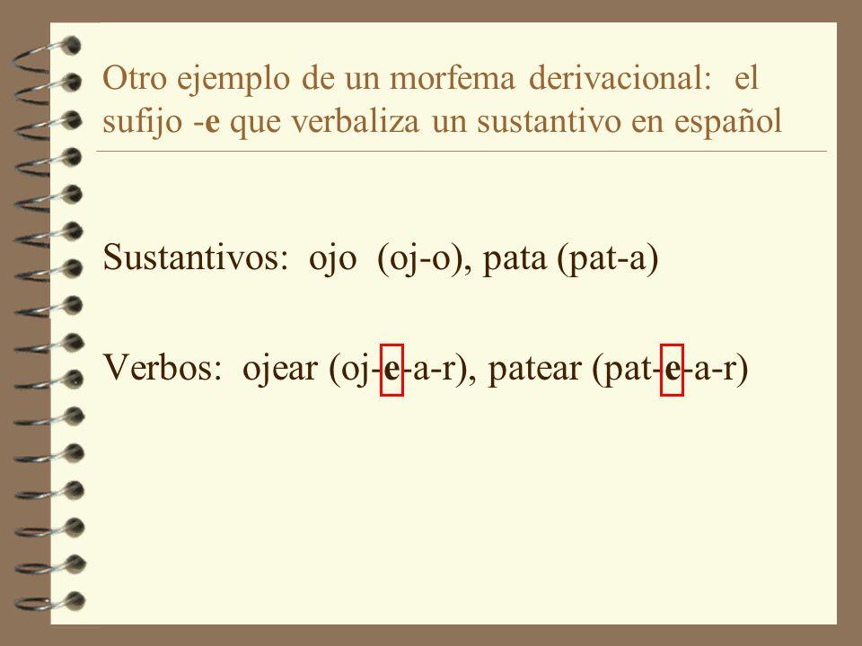 Sustantivos: ojo (oj-o), pata (pat-a)