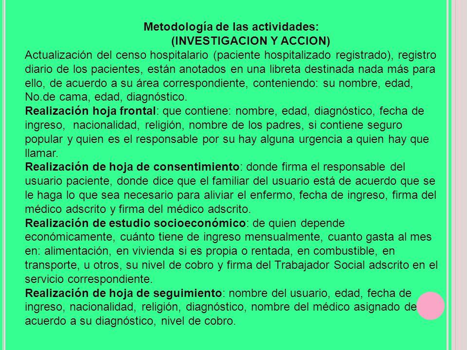 Metodología de las actividades: (INVESTIGACION Y ACCION)