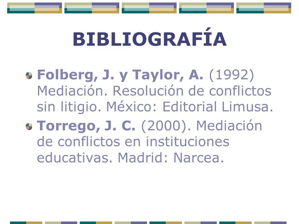 BIBLIOGRAFÍA Folberg, J. y Taylor, A. (1992) Mediación. Resolución de conflictos sin litigio. México: Editorial Limusa.