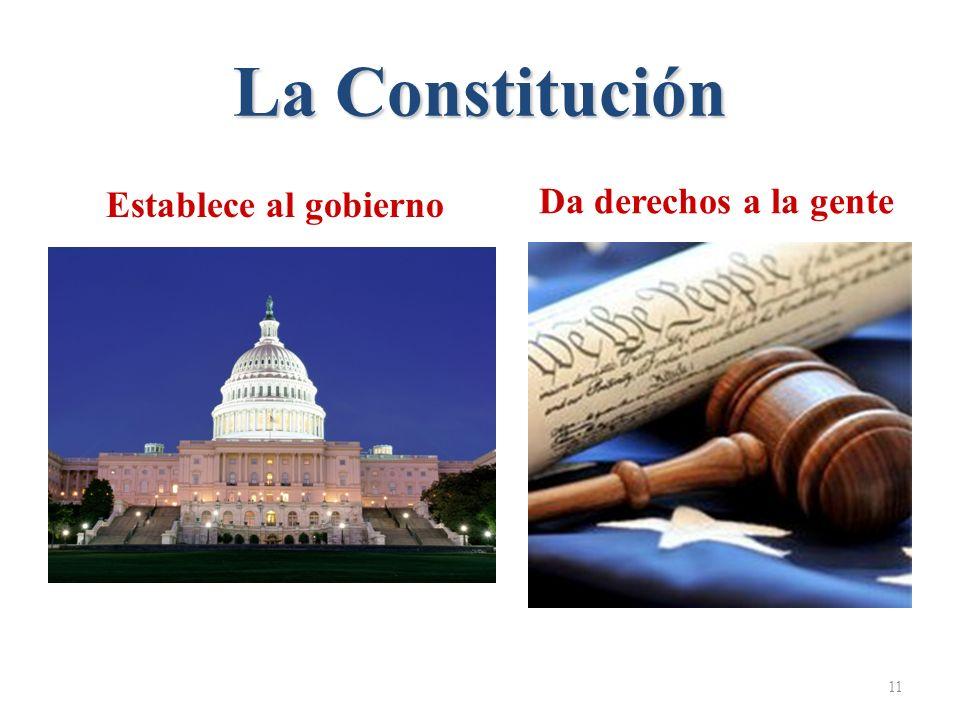 La Constitución Establece al gobierno Da derechos a la gente