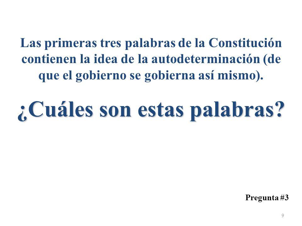 Las primeras tres palabras de la Constitución contienen la idea de la autodeterminación (de que el gobierno se gobierna así mismo). ¿Cuáles son estas palabras