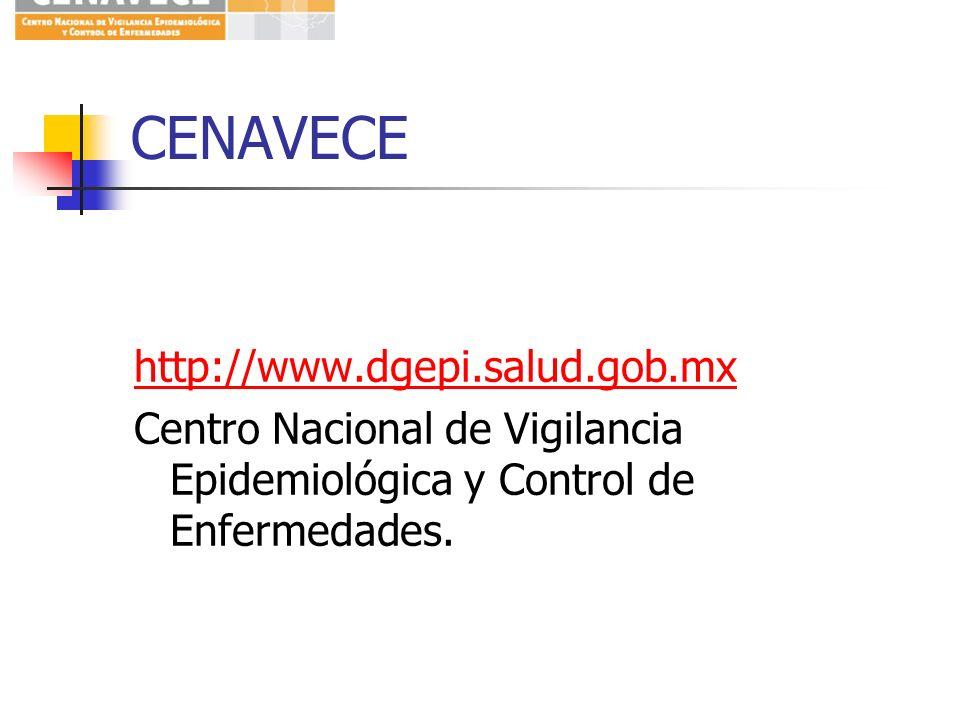 CENAVECEhttp://www.dgepi.salud.gob.mx Centro Nacional de Vigilancia Epidemiológica y Control de Enfermedades.