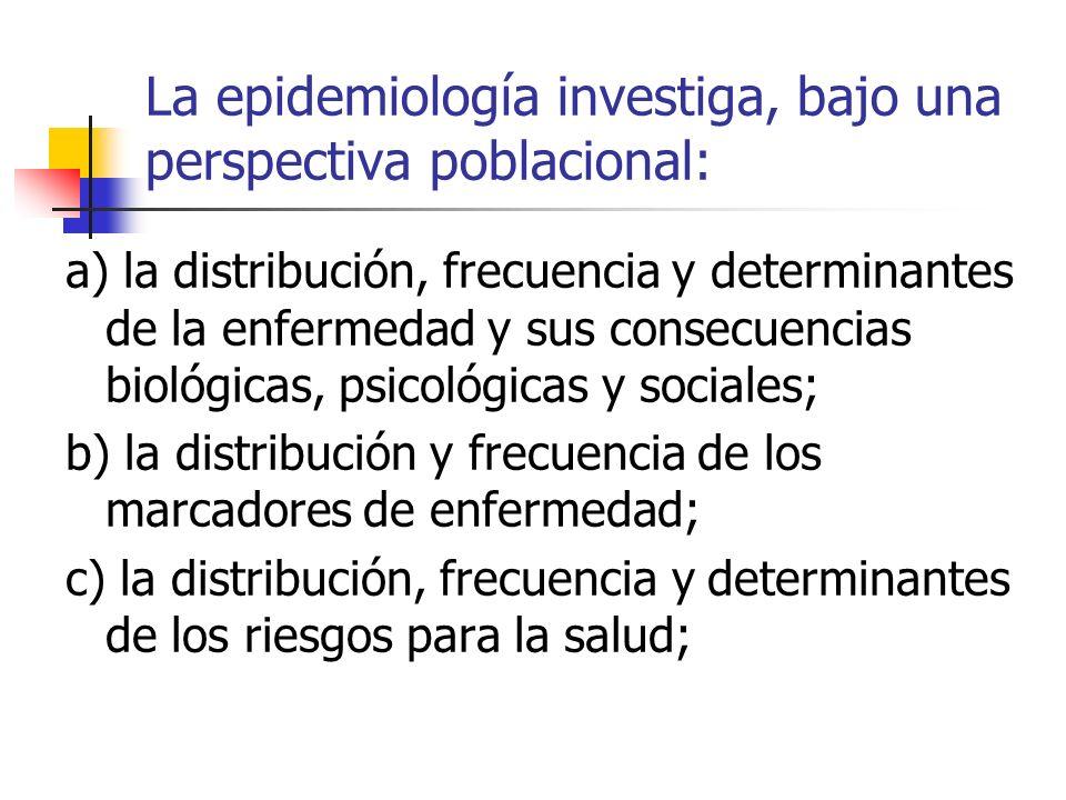 La epidemiología investiga, bajo una perspectiva poblacional: