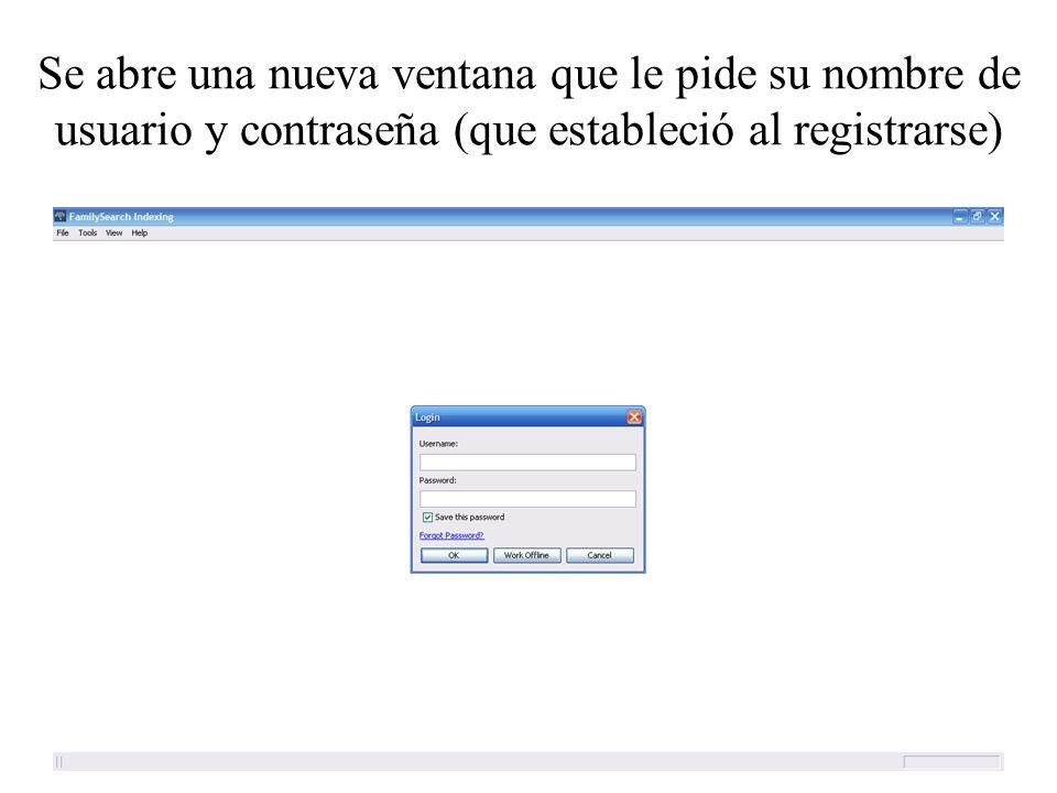Se abre una nueva ventana que le pide su nombre de usuario y contraseña (que estableció al registrarse)