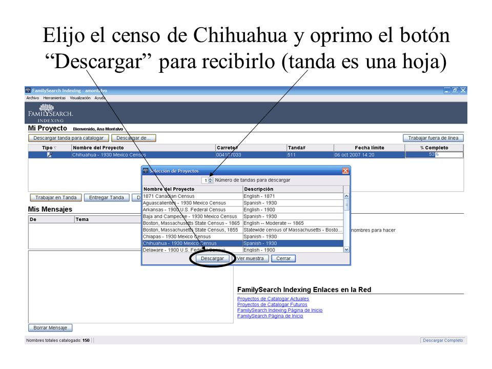 Elijo el censo de Chihuahua y oprimo el botón Descargar para recibirlo (tanda es una hoja)