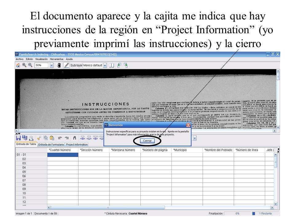 El documento aparece y la cajita me indica que hay instrucciones de la región en Project Information (yo previamente imprimí las instrucciones) y la cierro