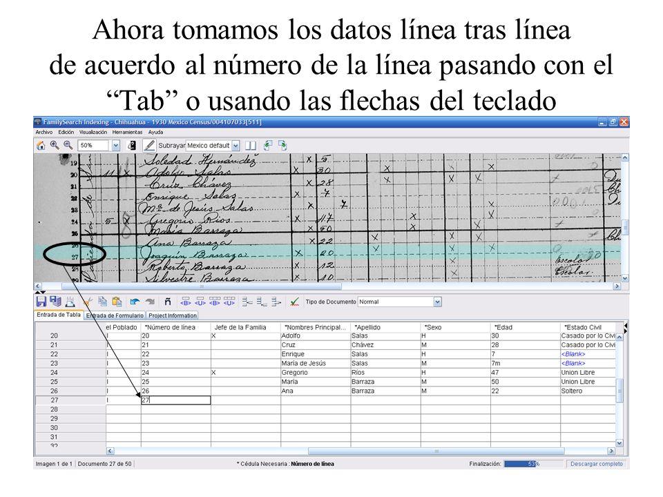 Ahora tomamos los datos línea tras línea de acuerdo al número de la línea pasando con el Tab o usando las flechas del teclado