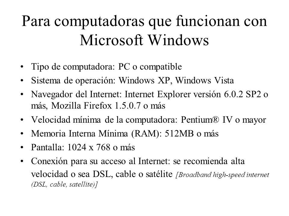 Para computadoras que funcionan con Microsoft Windows