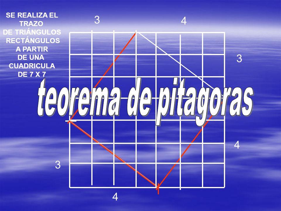 teorema de pitagoras 3 4 3 4 3 4 SE REALIZA EL TRAZO DE TRIÁNGULOS