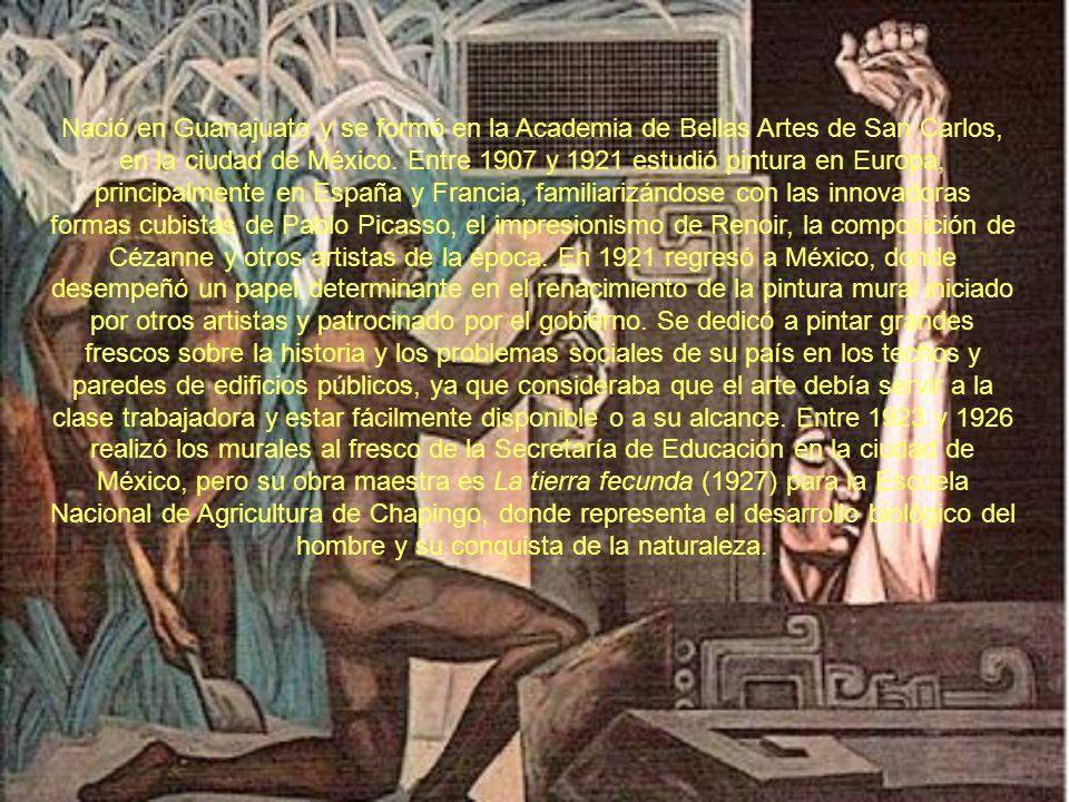 Nació en Guanajuato y se formó en la Academia de Bellas Artes de San Carlos, en la ciudad de México.