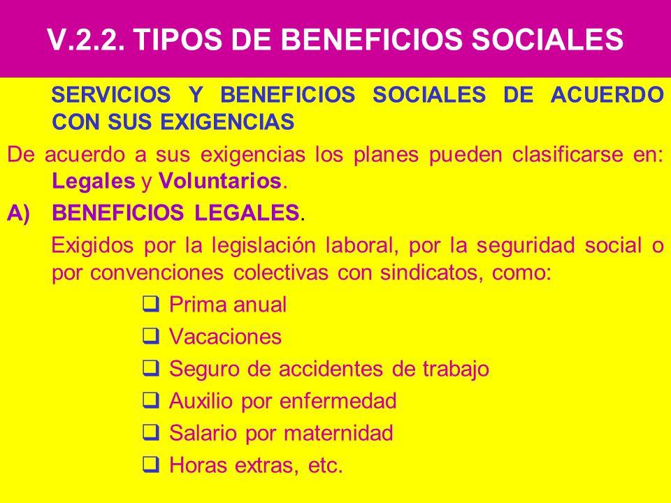 V.2.2. TIPOS DE BENEFICIOS SOCIALES