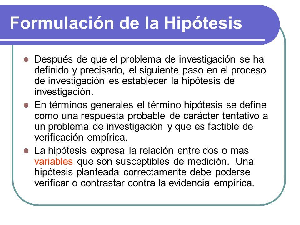 Formulación de la Hipótesis