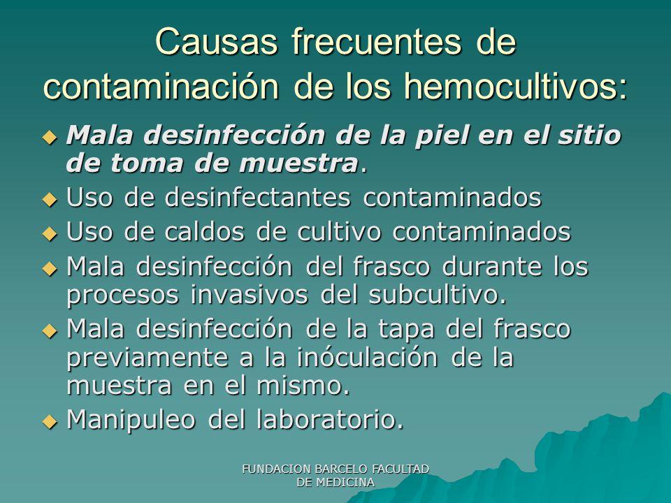 Causas frecuentes de contaminación de los hemocultivos: