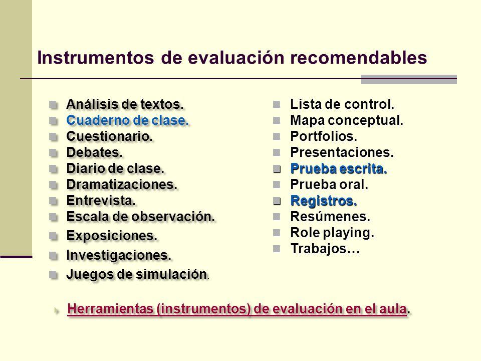 Instrumentos de evaluación recomendables