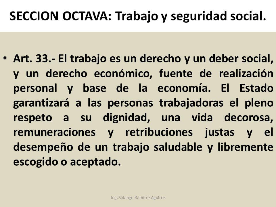 SECCION OCTAVA: Trabajo y seguridad social.