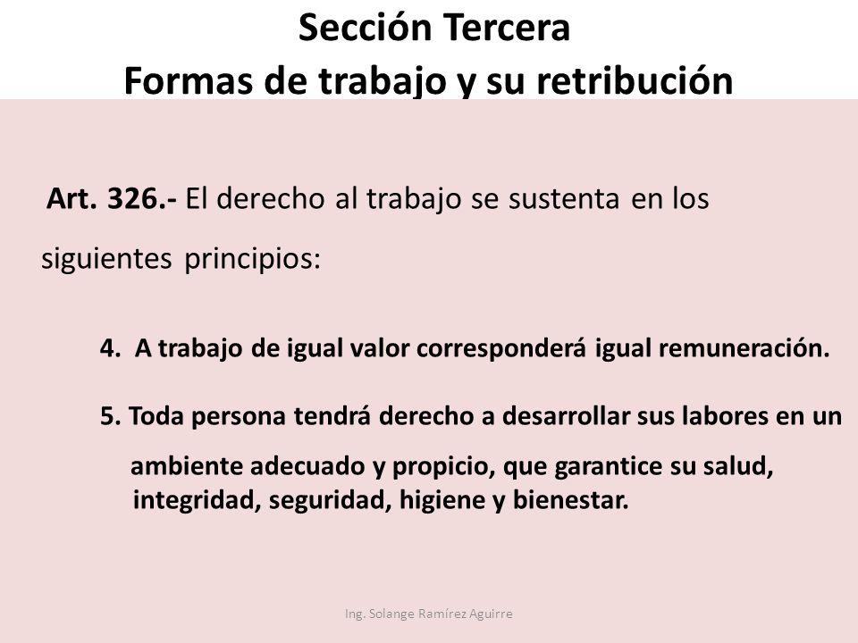 Sección Tercera Formas de trabajo y su retribución