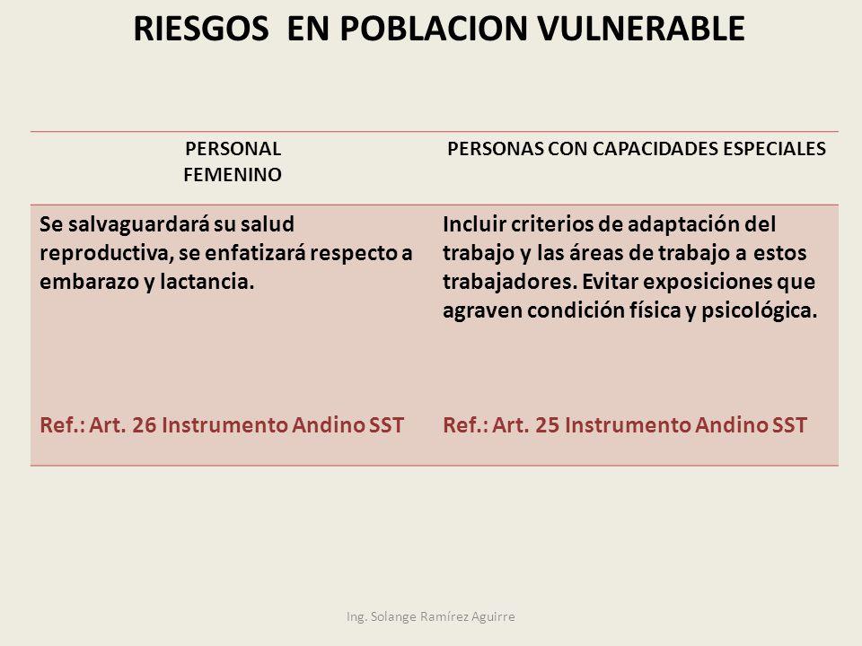 RIESGOS EN POBLACION VULNERABLE PERSONAS CON CAPACIDADES ESPECIALES