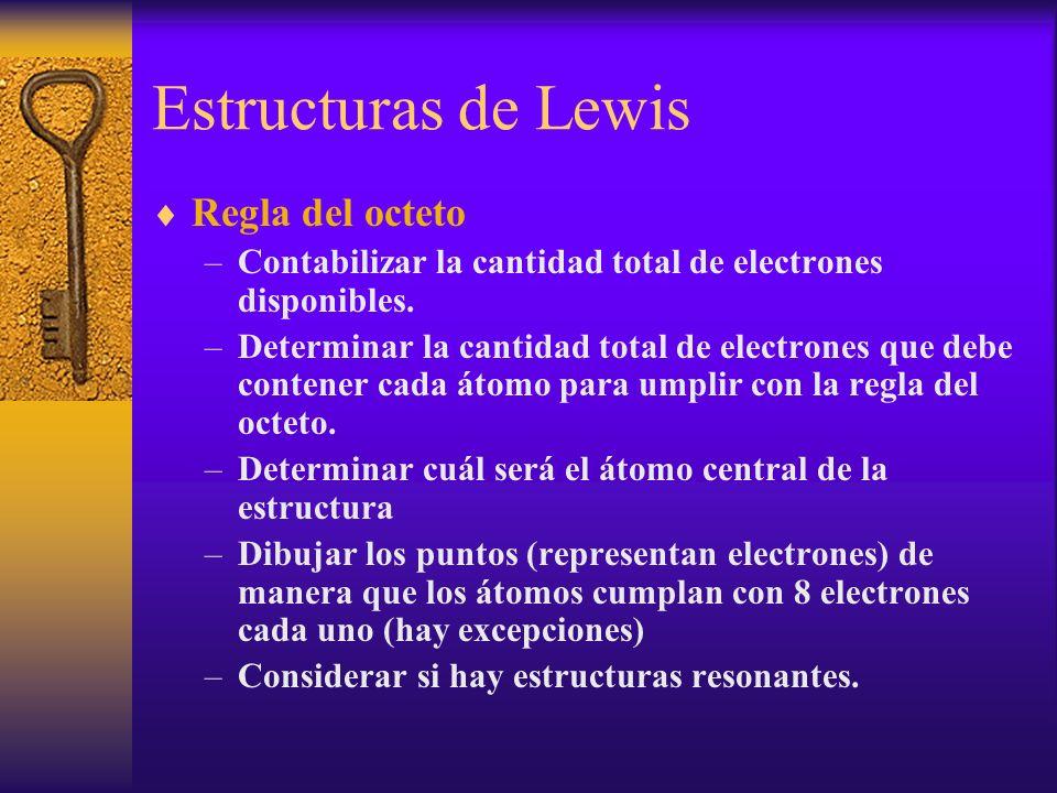 Estructuras de Lewis Regla del octeto