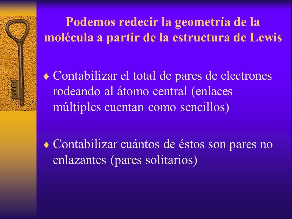 Podemos redecir la geometría de la molécula a partir de la estructura de Lewis