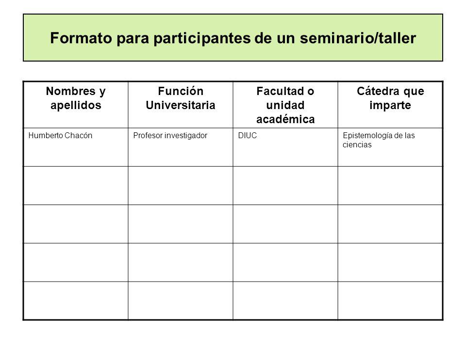 Formato para participantes de un seminario/taller