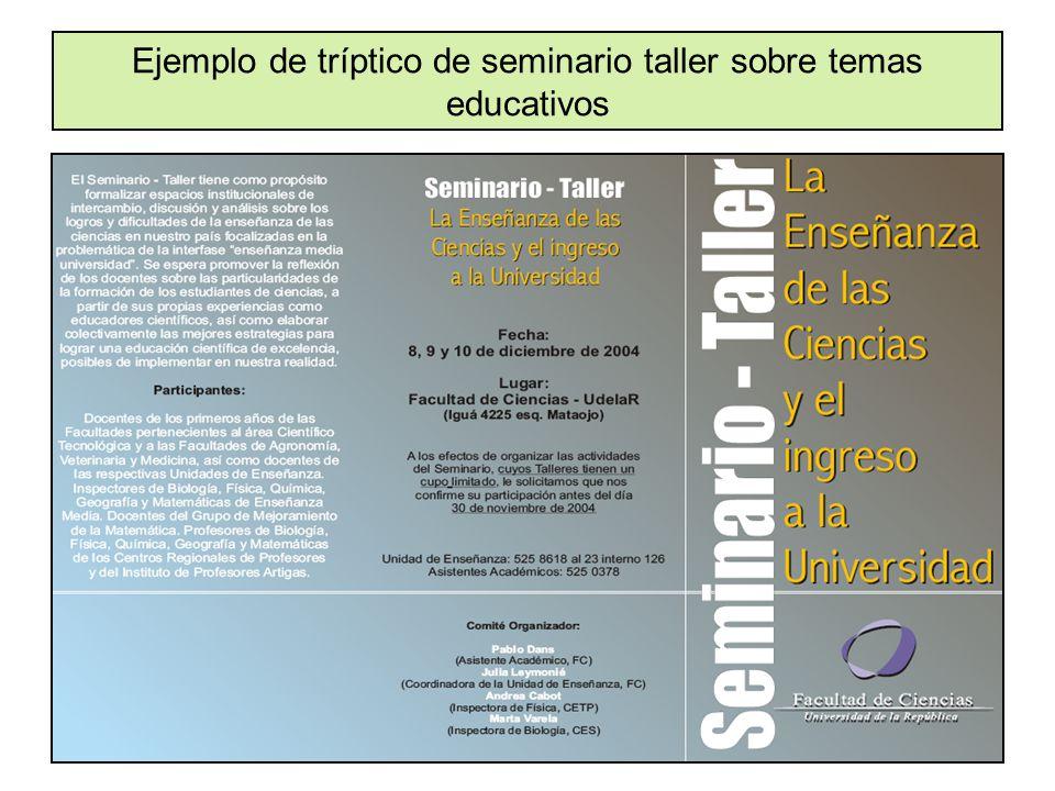 Ejemplo de tríptico de seminario taller sobre temas educativos