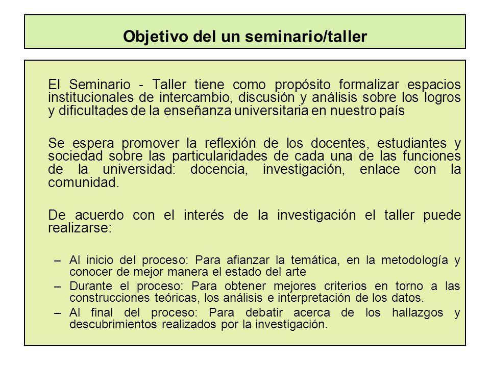 Objetivo del un seminario/taller