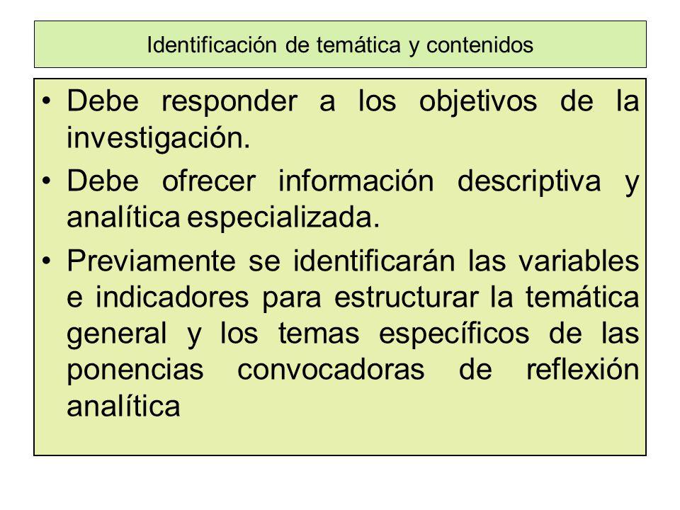 Identificación de temática y contenidos