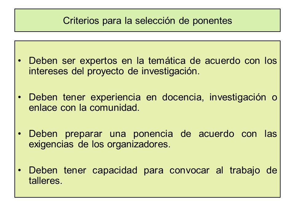 Criterios para la selección de ponentes