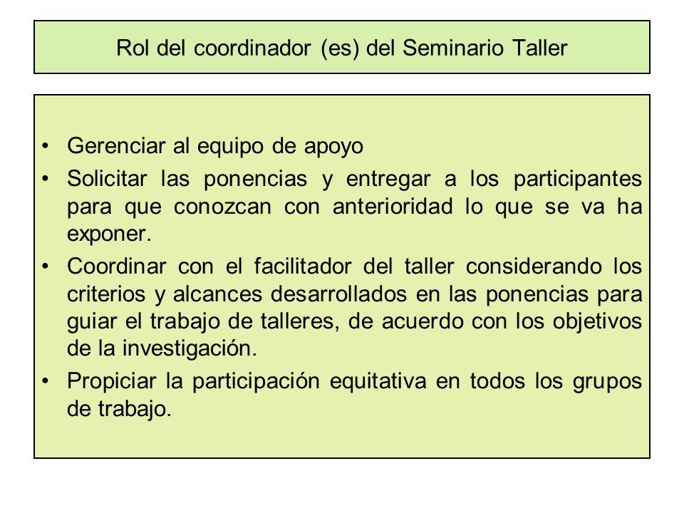 Rol del coordinador (es) del Seminario Taller