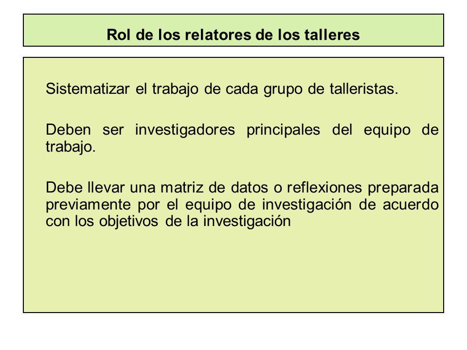 Rol de los relatores de los talleres