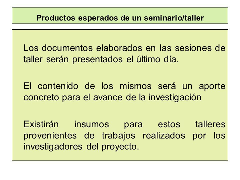 Productos esperados de un seminario/taller