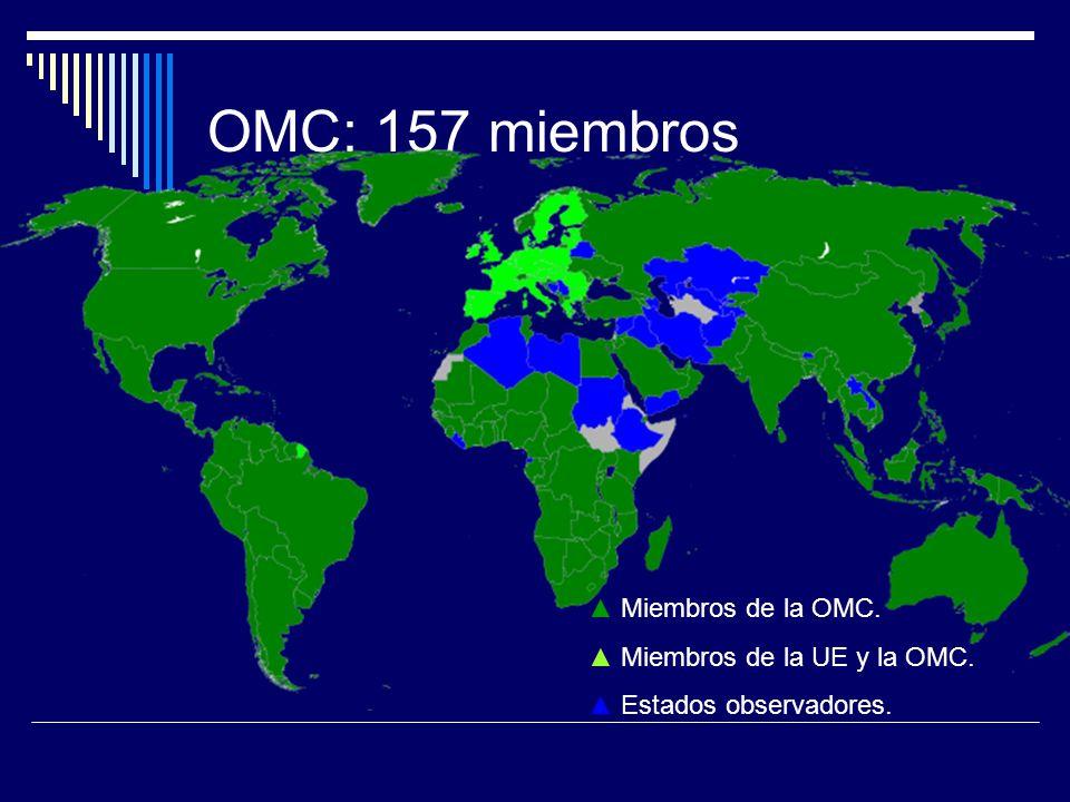 OMC: 157 miembros ▲ Miembros de la OMC. ▲ Miembros de la UE y la OMC.