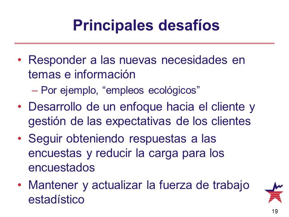 Principales desafíos Responder a las nuevas necesidades en temas e información. Por ejemplo, empleos ecológicos