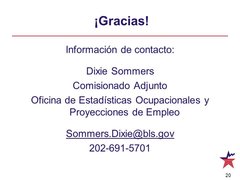 ¡Gracias! Información de contacto: Dixie Sommers Comisionado Adjunto