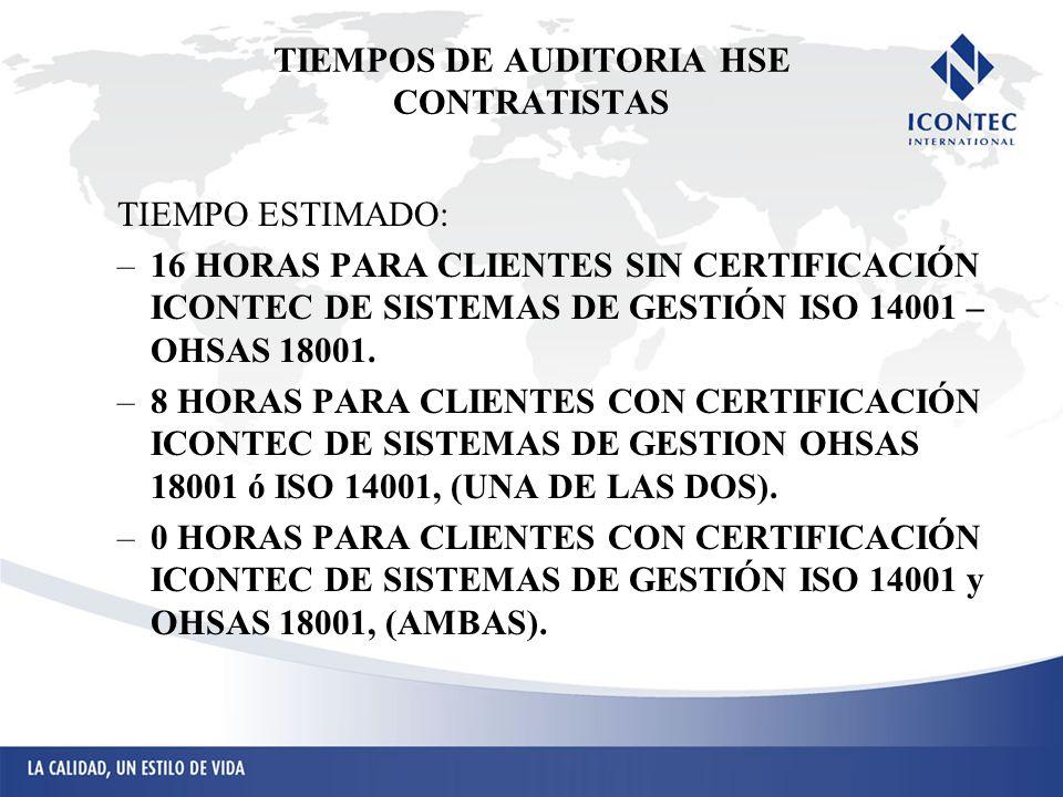 TIEMPOS DE AUDITORIA HSE CONTRATISTAS