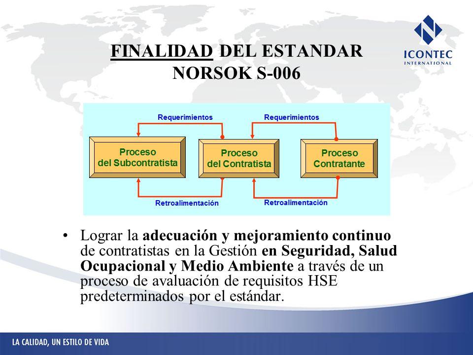 FINALIDAD DEL ESTANDAR NORSOK S-006