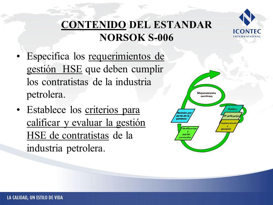 CONTENIDO DEL ESTANDAR NORSOK S-006