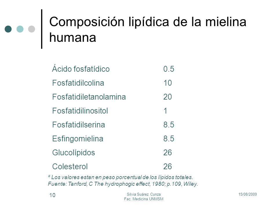 Composición lipídica de la mielina humana