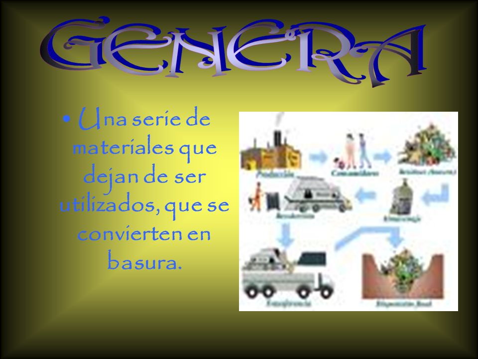 GENERA Una serie de materiales que dejan de ser utilizados, que se convierten en basura.