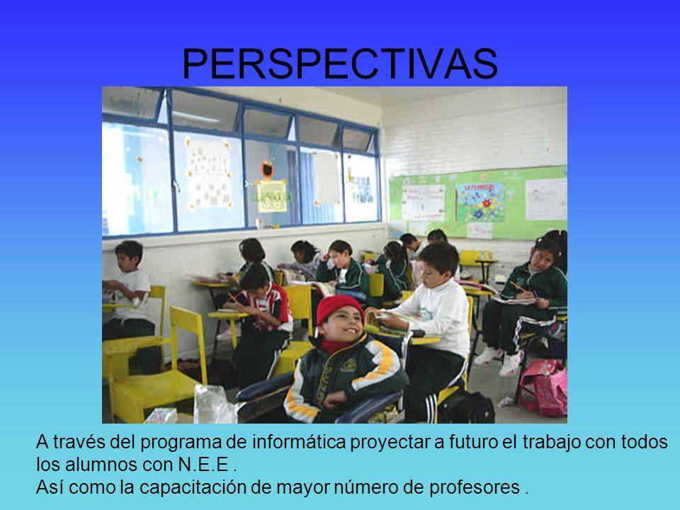 PERSPECTIVAS A través del programa de informática proyectar a futuro el trabajo con todos. los alumnos con N.E.E .