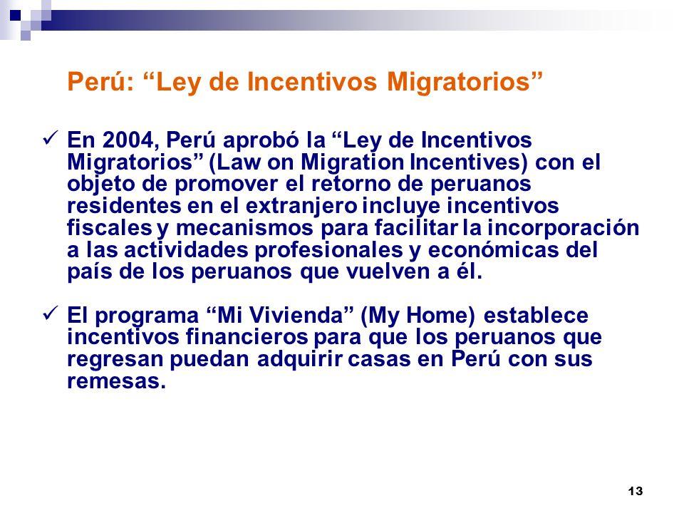 Perú: Ley de Incentivos Migratorios