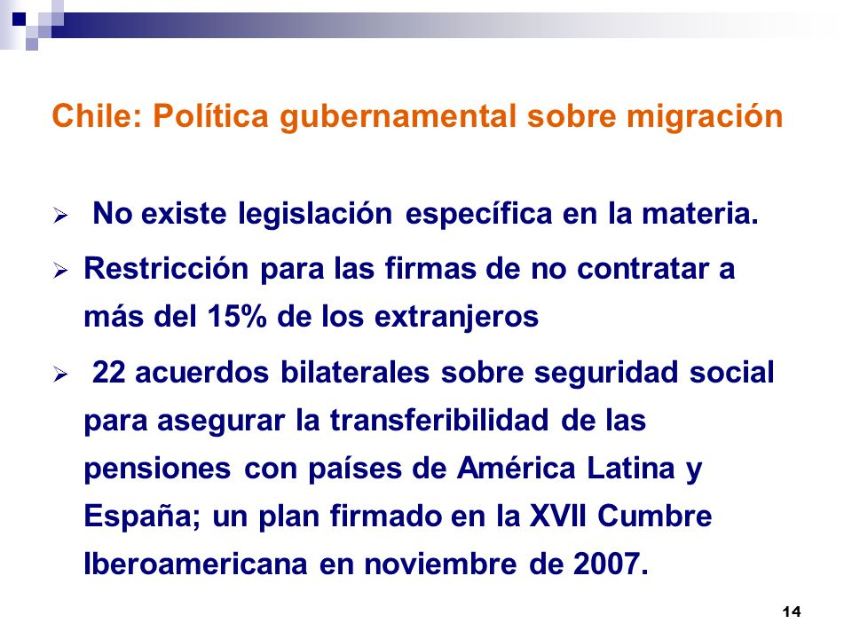Chile: Política gubernamental sobre migración