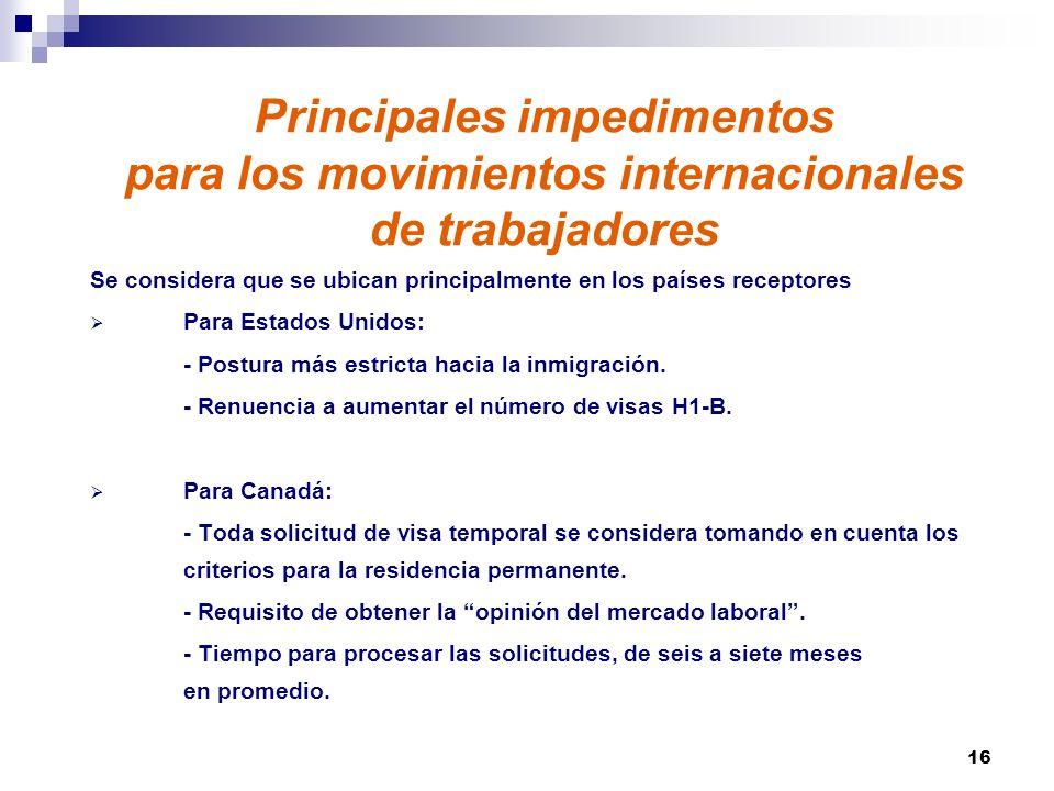 Principales impedimentos para los movimientos internacionales de trabajadores