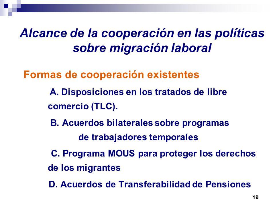 Alcance de la cooperación en las políticas sobre migración laboral