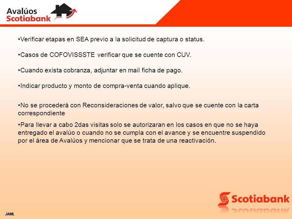 Verificar etapas en SEA previo a la solicitud de captura o status.